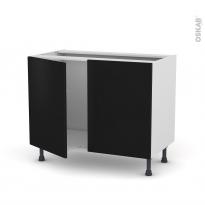 Meuble de cuisine - Sous évier - GINKO Noir - 2 portes - L100 x H70 x P58 cm