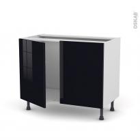 Meuble de cuisine - Sous évier - KERIA Noir - 2 portes - L100 x H70 x P58 cm