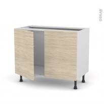 Meuble de cuisine - Sous évier - STILO Noyer Blanchi - 2 portes - L100 x H70 x P58 cm