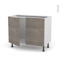 Meuble de cuisine - Sous évier - STILO Noyer Naturel - 2 portes - L100 x H70 x P58 cm