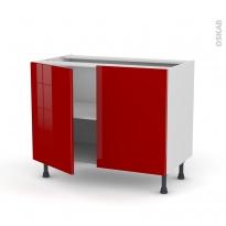Meuble de cuisine - Sous évier - STECIA Rouge - 2 portes - L100 x H70 x P58 cm