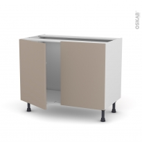Meuble de cuisine - Sous évier - GINKO Taupe - 2 portes - L100 x H70 x P58 cm