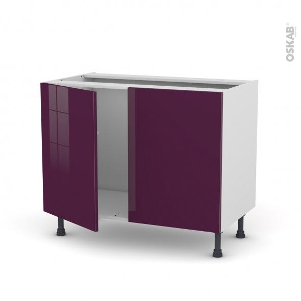 Meuble de cuisine - Sous évier - KERIA Aubergine - 2 portes - L100 x H70 x P58 cm