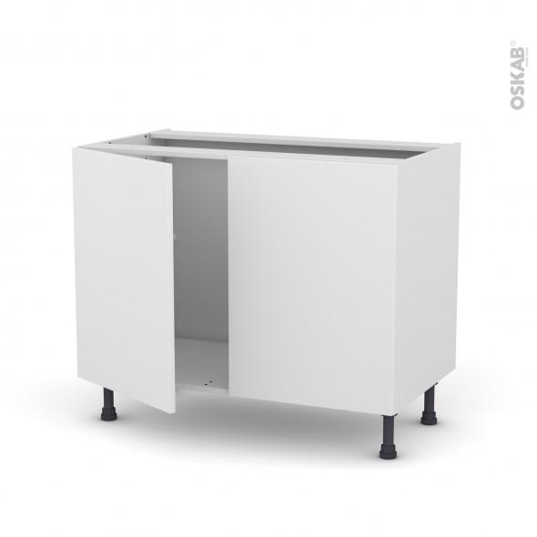 Meuble de cuisine - Sous évier - GINKO Blanc - 2 portes - L100 x H70 x P58 cm