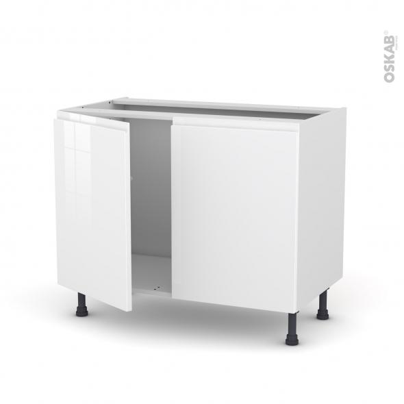 Meuble de cuisine - Sous évier - IPOMA Blanc - 2 portes - L100 x H70 x P58 cm
