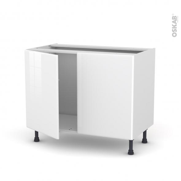 Meuble de cuisine - Sous évier - IRIS Blanc - 2 portes - L100 x H70 x P58 cm