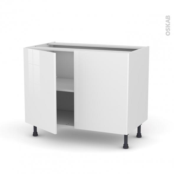 STECIA Blanc - Meuble sous-évier  - 2 portes - L100xH70xP58