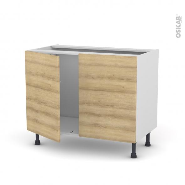Meuble de cuisine - Sous évier - HOSTA Chêne naturel - 2 portes - L100 x H70 x P58 cm