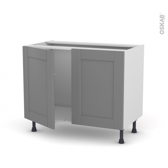 Meuble de cuisine - Sous évier - FILIPEN Gris - 2 portes - L100 x H70 x P58 cm