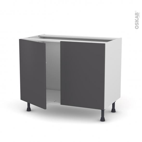 Meuble de cuisine - Sous évier - GINKO Gris - 2 portes - L100 x H70 x P58 cm
