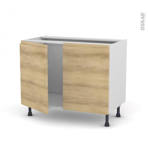 Meuble de cuisine - Sous évier - IPOMA Chêne naturel - 2 portes - L100 x H70 x P58 cm