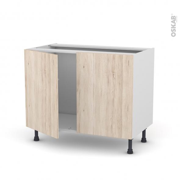 Meuble de cuisine - Sous évier - IKORO Chêne clair - 2 portes - L100 x H70 x P58 cm