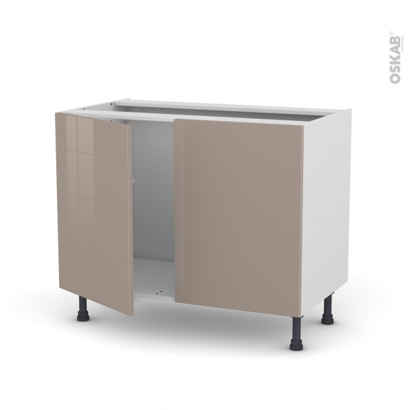 Meuble de cuisine - Sous évier - KERIA Moka - 2 portes - L100 x H70 x P58 cm