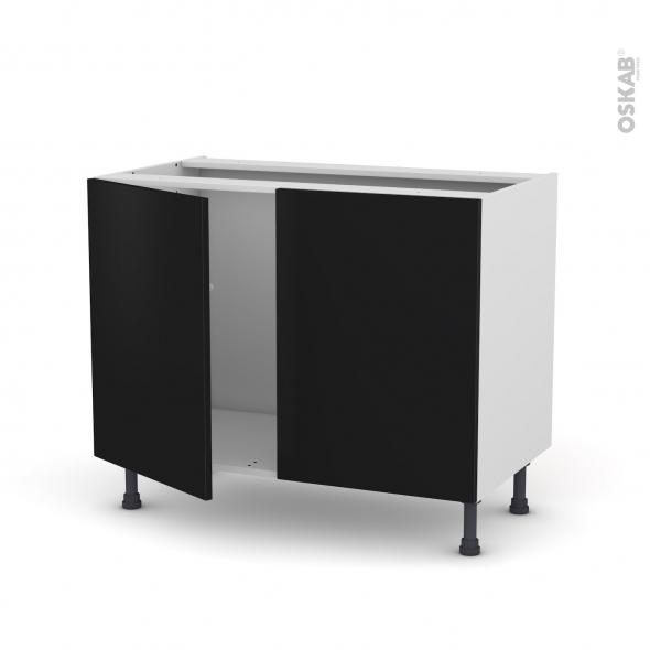 GINKO Noir - Meuble sous-évier  - 2 portes - L100xH70xP58