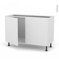 Meuble de cuisine - Sous évier - GINKO Blanc - 2 portes - L120 x H70 x P58 cm