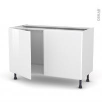 Meuble de cuisine - Sous évier - IRIS Blanc - 2 portes - L120 x H70 x P58 cm