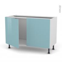 Meuble de cuisine - Sous évier - KERIA Bleu - 2 portes - L120 x H70 x P58 cm