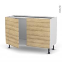 Meuble de cuisine - Sous évier - HOSTA Chêne naturel - 2 portes - L120 x H70 x P58 cm