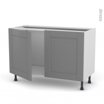 Meuble de cuisine - Sous évier - FILIPEN Gris - 2 portes - L120 x H70 x P58 cm