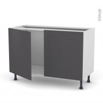 Meuble de cuisine - Sous évier - GINKO Gris - 2 portes - L120 x H70 x P58 cm