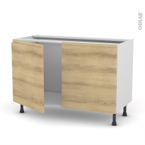 Meuble de cuisine - Sous évier - IPOMA Chêne naturel - 2 portes - L120 x H70 x P58 cm