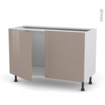Meuble de cuisine - Sous évier - KERIA Moka - 2 portes - L120 x H70 x P58 cm