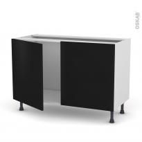 Meuble de cuisine - Sous évier - GINKO Noir - 2 portes - L120 x H70 x P58 cm