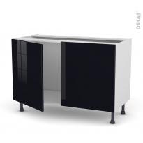 Meuble de cuisine - Sous évier - KERIA Noir - 2 portes - L120 x H70 x P58 cm