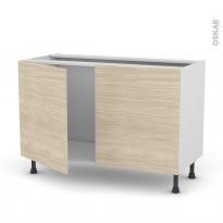 Meuble de cuisine - Sous évier - STILO Noyer Blanchi - 2 portes - L120 x H70 x P58 cm