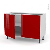 Meuble de cuisine - Sous évier - STECIA Rouge - 2 portes - L120 x H70 x P58 cm