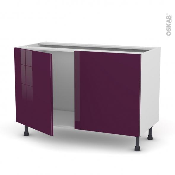 Meuble de cuisine - Sous évier - KERIA Aubergine - 2 portes - L120 x H70 x P58 cm
