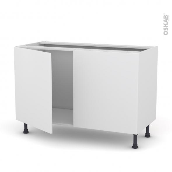 GINKO Blanc - Meuble sous-évier  - 2 portes - L120xH70xP58