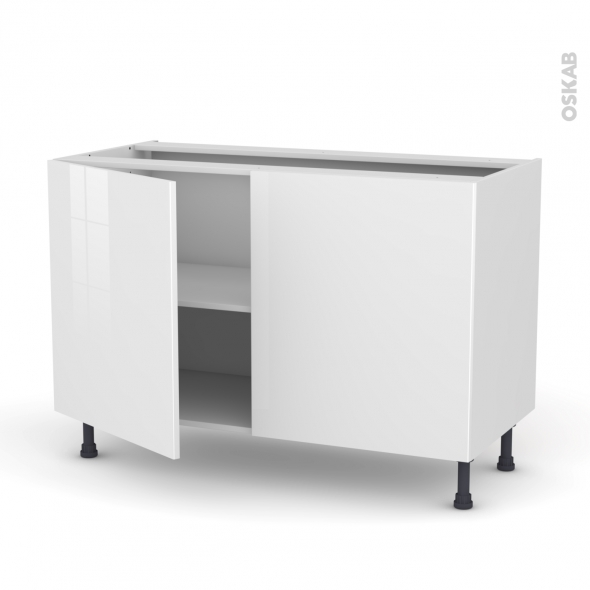 Meuble de cuisine - Sous évier - STECIA Blanc - 2 portes - L120 x H70 x P58 cm