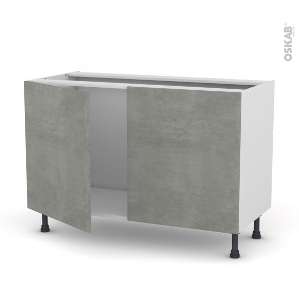 Meuble de cuisine - Sous évier - FAKTO Béton - 2 portes - L120 x H70 x P58 cm