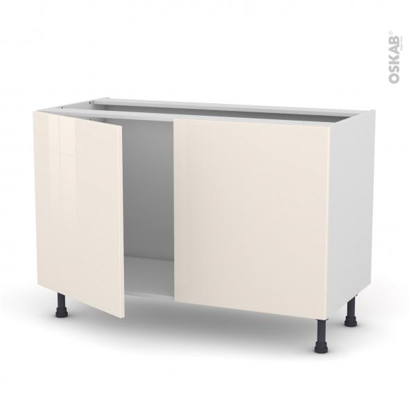 Meuble de cuisine - Sous évier - KERIA Ivoire - 2 portes - L120 x H70 x P58 cm