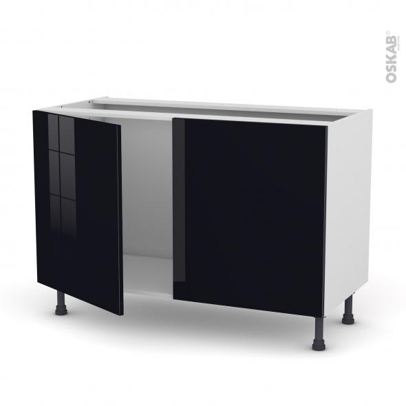 KERIA Noir - Meuble sous-évier  - 2 portes - L120xH70xP58