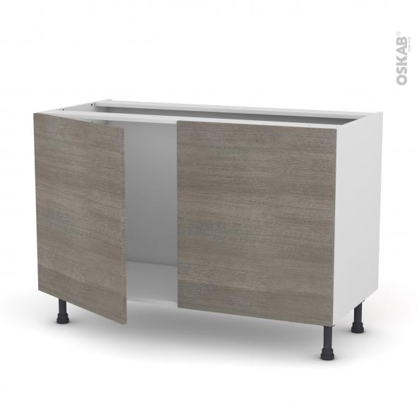 Meuble de cuisine - Sous évier - STILO Noyer Naturel - 2 portes - L120 x H70 x P58 cm