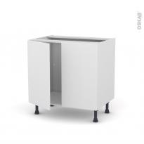 Meuble de cuisine - Sous évier - GINKO Blanc - 2 portes - L80 x H70 x P58 cm