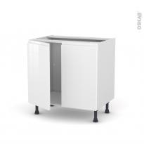 Meuble de cuisine - Sous évier - IPOMA Blanc - 2 portes - L80 x H70 x P58 cm