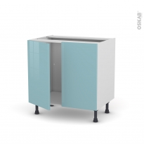 Meuble de cuisine - Sous évier - KERIA Bleu - 2 portes - L80 x H70 x P58 cm