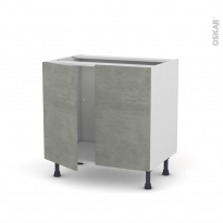 Meuble de cuisine - Sous évier - FAKTO Béton - 2 portes - L80 x H70 x P58 cm