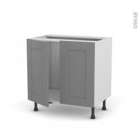 Meuble de cuisine - Sous évier - FILIPEN Gris - 2 portes - L80 x H70 x P58 cm