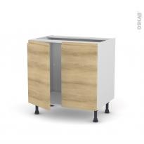 Meuble de cuisine - Sous évier - IPOMA Chêne naturel - 2 portes - L80 x H70 x P58 cm