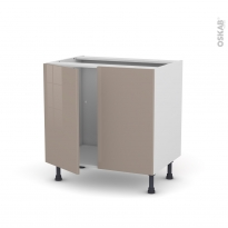Meuble de cuisine - Sous évier - KERIA Moka - 2 portes - L80 x H70 x P58 cm