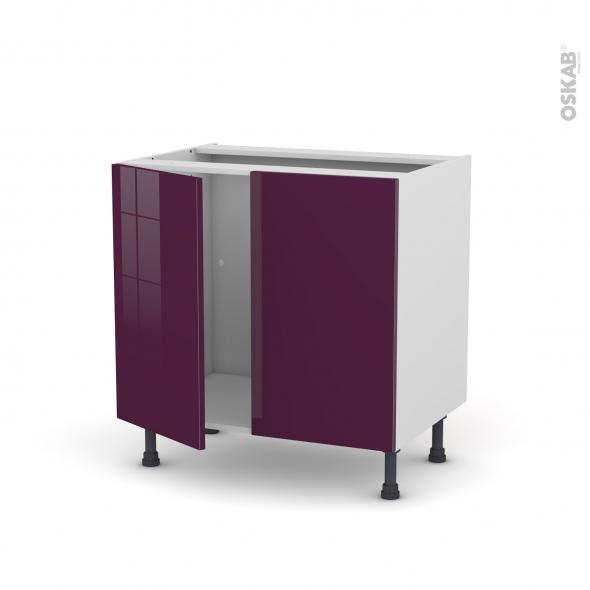 Meuble de cuisine - Sous évier - KERIA Aubergine - 2 portes - L80 x H70 x P58 cm