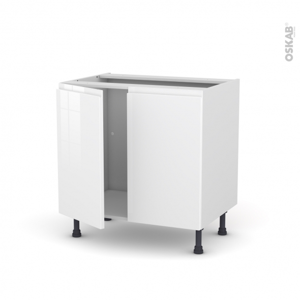 Meuble De Cuisine Sous Evier Ipoma Blanc Brillant 2 Portes L80 X H70