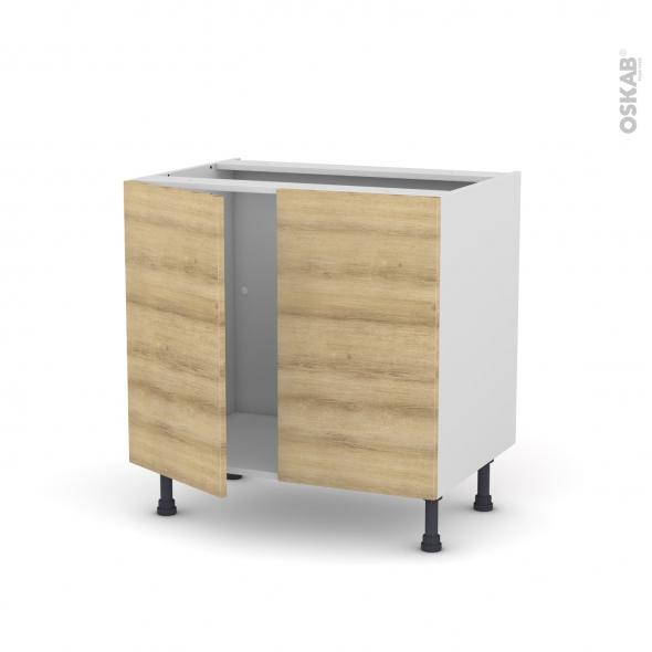 Meuble de cuisine - Sous évier - HOSTA Chêne naturel - 2 portes - L80 x H70 x P58 cm