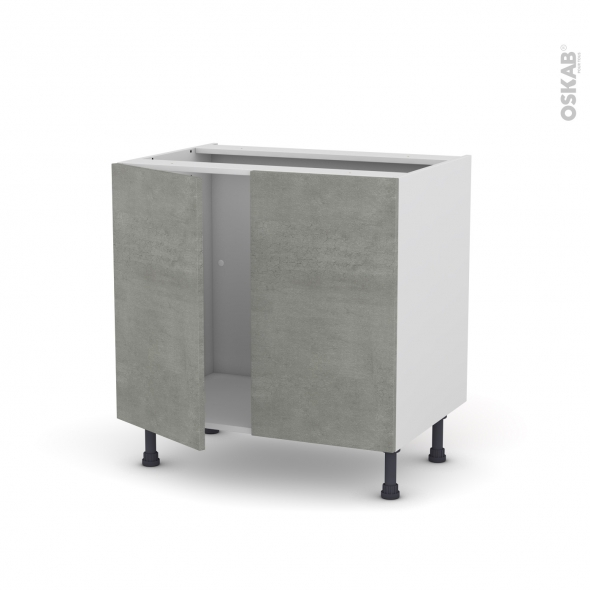 FAKTO Béton - Meuble sous-évier  - 2 portes - L80xH70xP58