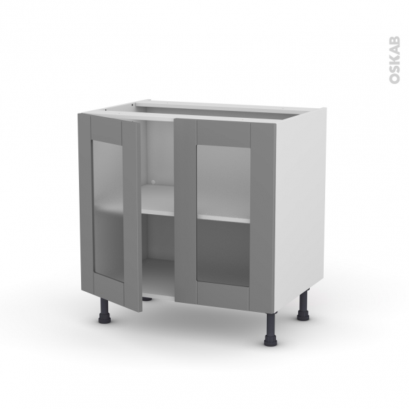 Meuble de cuisine - Sous évier vitré - FILIPEN Gris - 2 portes - L80 x H70 x P58 cm