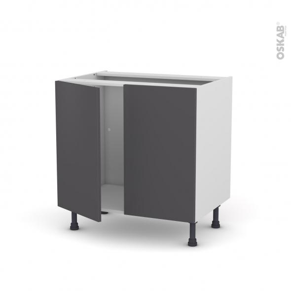 Meuble de cuisine - Sous évier - GINKO Gris - 2 portes - L80 x H70 x P58 cm